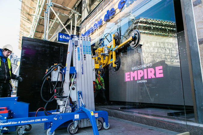 Wienold glass lift installation project at Leicester Square's famous Empire Cinema