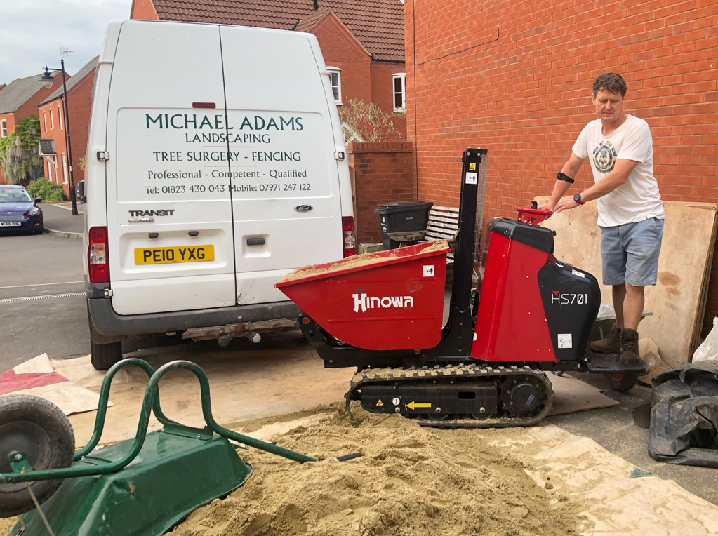 Minidumper allows landscaper to work on with sight disability