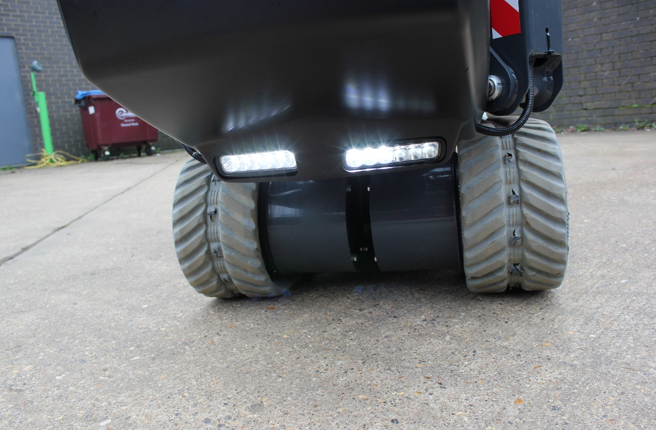 High power LED lights aid tracking in low light and ultra-narrow body supports working in confined spaces